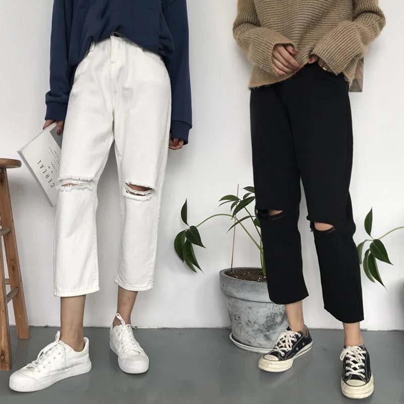 69aec1a78bfa Acheter Pantalons Pour Femmes Jeans Boyfriend Lâche Pantalon Femme Noir  Blanc Déchiré Jean Denim 5XL 2018 Plus Grande Taille Mujer Jegging  Vêtements De ...