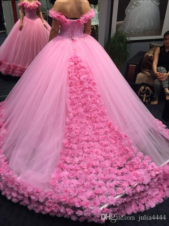 Prom Dresses 2019 Luxury 3D Floral Ball Gown Modest Off-shoulder Cathedral Train Quinceanera Dresses Sweety 15 Girls Masquerade Gowns