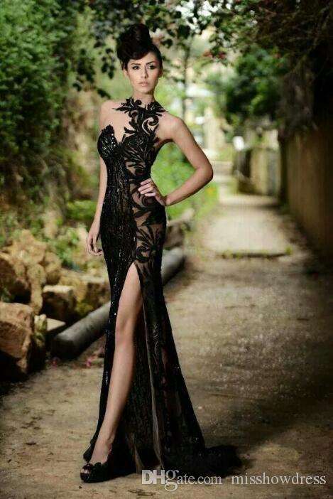 Prom Dresses 2018 Elegant Sexy Black Sheer Jewel Neck Mermaid High Slit Evening Gowns Plus Size Custom Made Cheap Vestidos De Festa BO7602