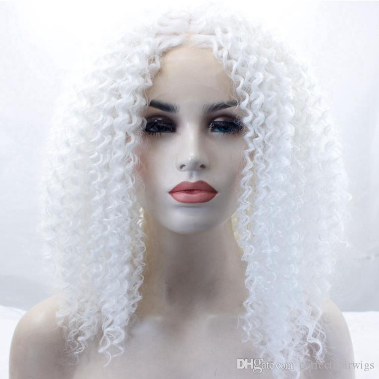 Short White Hair Color Afro Kinky Curly Glueless Hair Synthetic Lace Front Wigs Heat Resistant Cosplay Party Wig