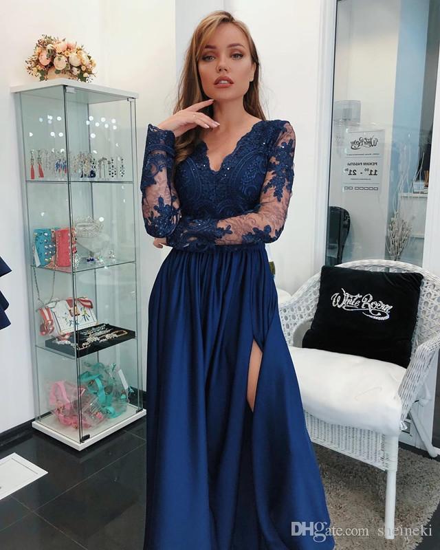 2018 arabe pas cher bleu royal split une ligne robes de bal Sheer manches longues appliques paillettes longues robes de soirée robes de soirée sur mesure