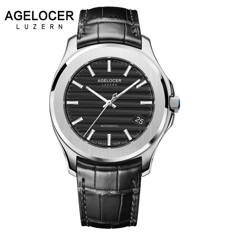 16de116162a Compre Homens Relógios De Luxo Suíço Marca AGELOCER Relógio De Couro  Genuíno Masculino À Prova D  Água De Reserva De Energia Relógio De Pulso  Dos Homens ...
