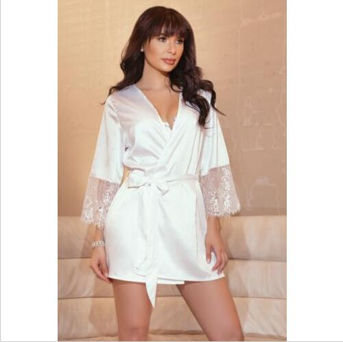 b47a96b707f3f Sexy Lingerie Women Silk Lace Robe Dress Babydoll Nightdress Nightgown  Sleepwear Bandage V-neck Nightwear Women Clothing