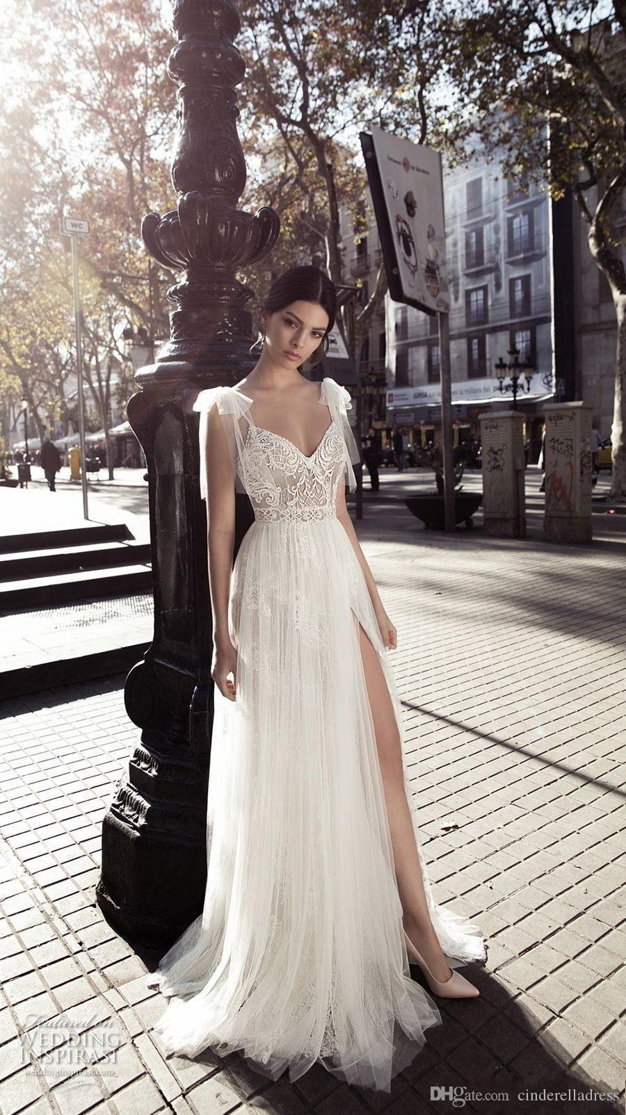 2020 Gali Karten Sexy A Line Wedding Dresses Sheer Tulle V Neck with Side Split Floor Length Lace Tulle Backless Bridal Gowns