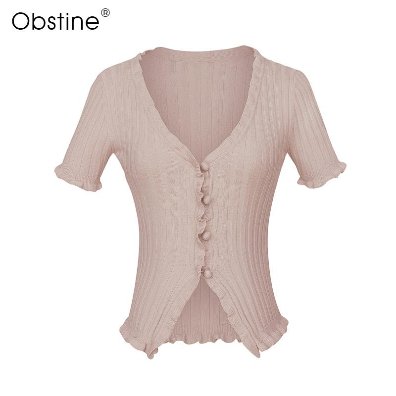 2019 Women V Neck Ruffle Trim Crop Knit Cardigan With Short Sleeve