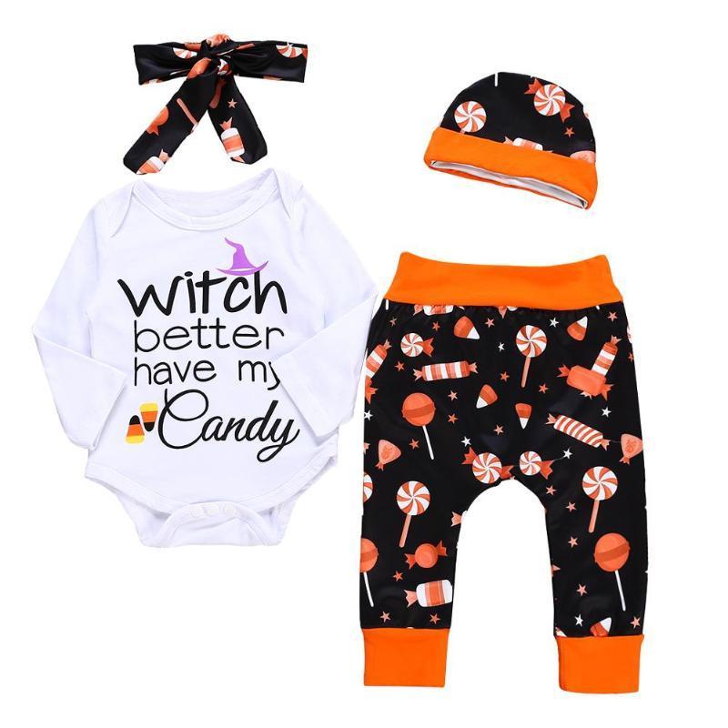 0f1eddf1dd3e 2019 Cute Letters Baby Clothes Warm Halloween Romper Pants Hat ...
