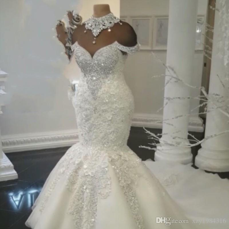 Luxurious Rhinestone High-Neck Wedding Dresses Lace Applique Crystal ...