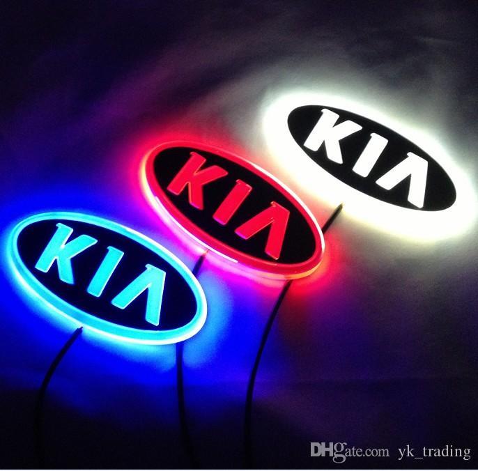 11.9 cm * 6.2 cm Car Emblem luce kia k5 sorento soul forte cerato Distintivo Adesivo LED light 4D logo Emblemi luce