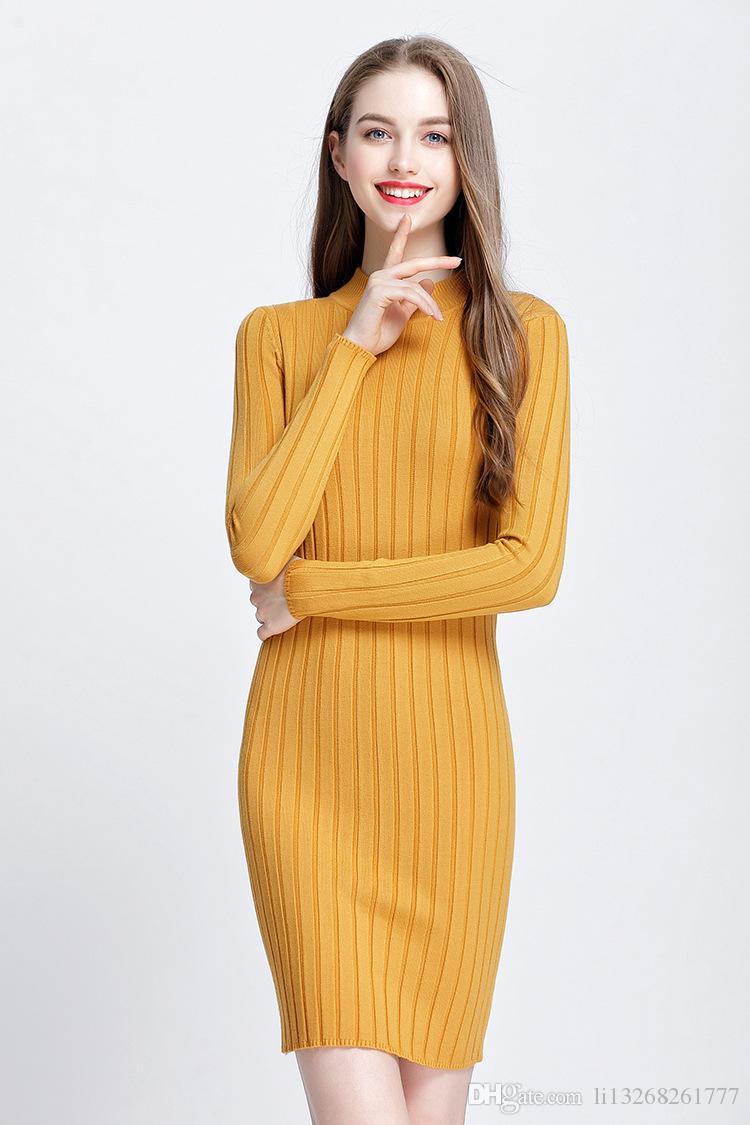 Compre Cachemira De Lana De Las Mujeres Vestido De Punto Primavera Otoño  2018 Largo Sexy Vestidos Ajustados Elástico Delgado Vestido De Suéter De  Centelleo ... 5ac01dfc5f17