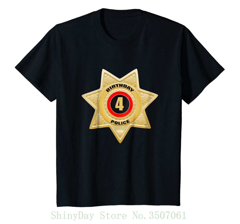 Compre Insignia De Los Oficiales De Policía De Los Niños Insignia Del 4to  Cumpleaños Camisa Divertida Fresca Regalo De La Camiseta Única Del O Cuello  De Las ... 37b47c2dbb5a5