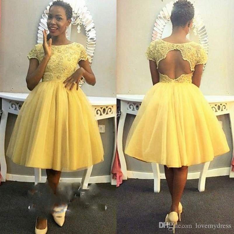 Fashion Yellow Tea Length Prom Dresses Short Sleeves Lace Keyhole Back For Black Women Tulle Ball Gowns Homecoming Party Dress Gowns Evening