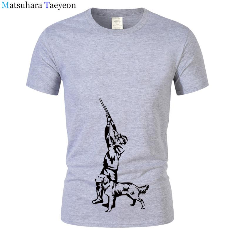 Hunter Hunting Decor Dog T Shirt Men Short Sleeve Men T Shirt Cotton