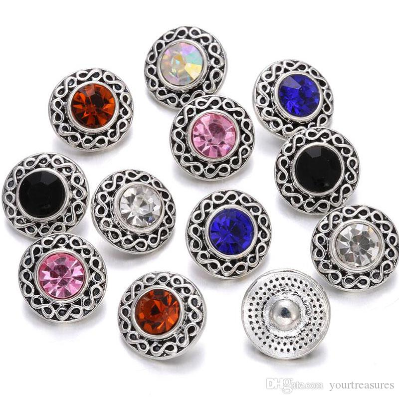 2019 New Mixed Rhinestone Styles 12mm Metal Snap Button Jewelry for ... 6c5034cde38d