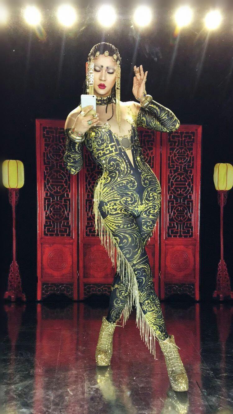 European style Female stage Costumes sexy Tassels Crystals Leotard Jumpsuit Bar Club Leading dancer DJ DS performance wear