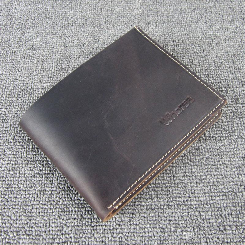 cc9e365cb5d Vintage Simple Style Crazy Horse Leather Men Wallet Short Small 2 Fold  Cowhide Mens Purse Wallets Coffee Color W10040 Designer Wallets Hobo Wallet  From ...