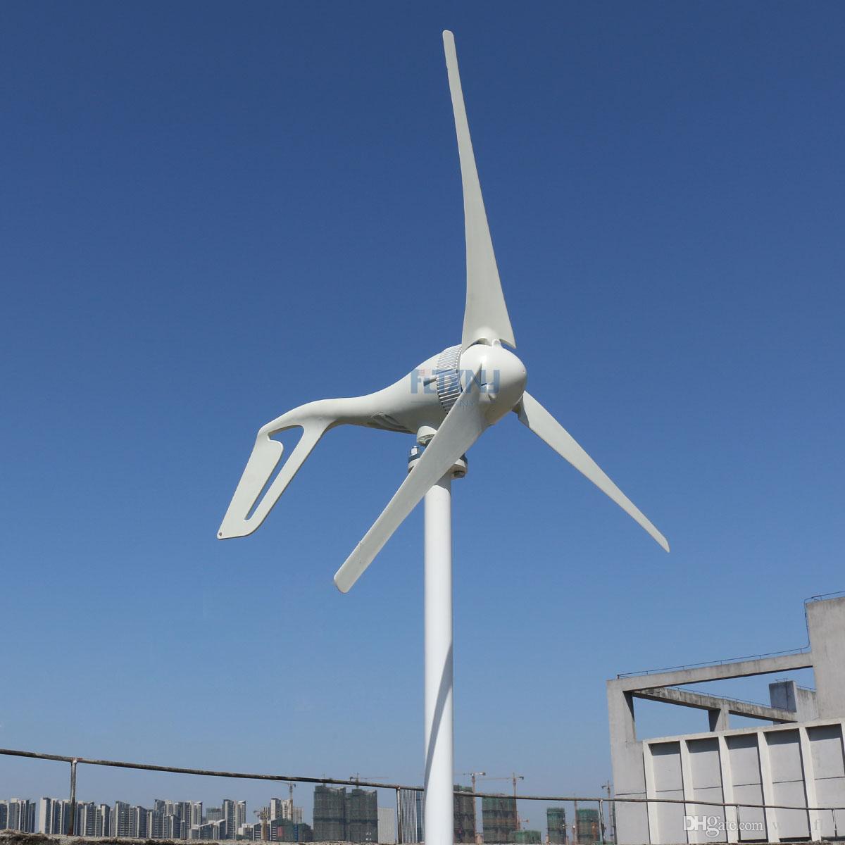 6bcf6b103f8 Compre Nylon 5 Palas 3 Aspas Pequeño Generador De Turbina Eólica Para  Sistema De Farola Híbrida Eólica Solar 100w 200w 300w 400w 12v   24v   48v  HAWT A ...