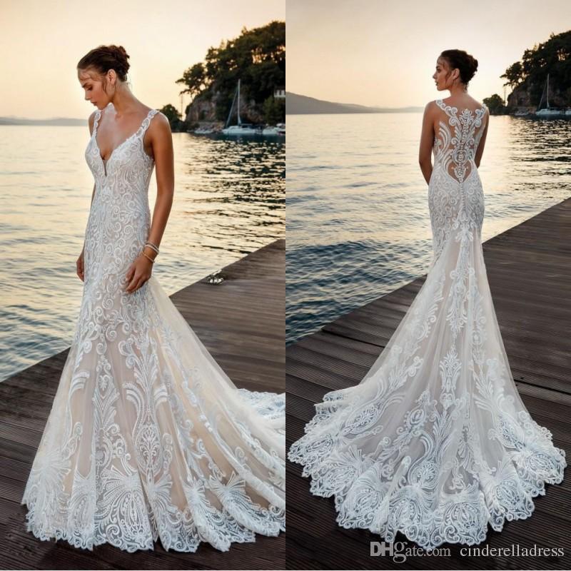 Vintage Sexy Eddy K 2018 Wedding Dress Sheer Full Lace