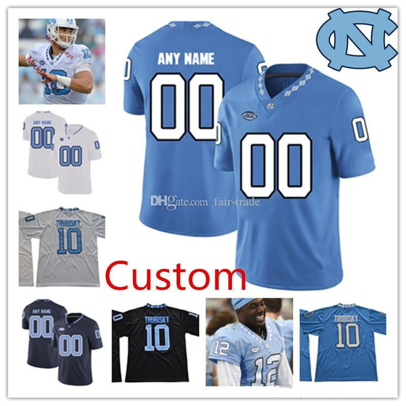 promo code 97a90 1c4e4 UNC North Carolina Tar Heels #10 Trubisky 49 Julius Peppers 98 Lawrence  Taylor 85 Eric Ebron Blue White NCAA College Football Jerseys S-4XL