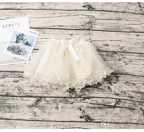 Chiffon Tutu Skirts for Toddler Baby Girls Princess Beads Mini Skirt Skort White Pink Kids Kilt