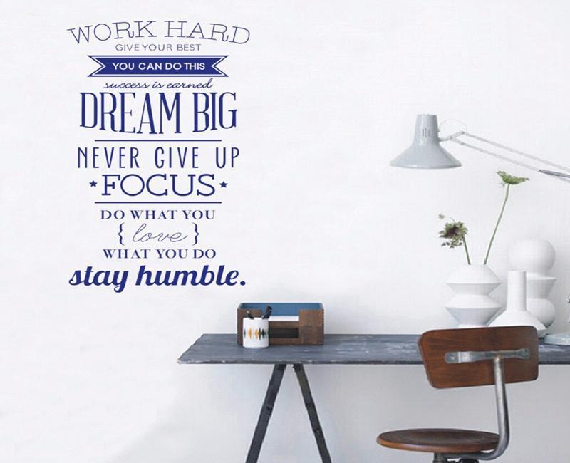 3 sätze / los 100 * 56 Cm Motivation wandtattoos bürozimmer dekor geben Sie nie auf Arbeit hart Traum große inspirierende Zitat Wandaufkleber
