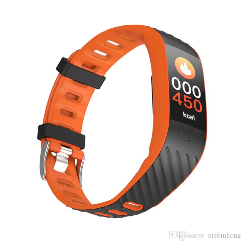 singlepiece P4 Colourful Touch Screen Smart Watch Band Heart Rate Blood Pressure Wristband Passometer 12 Language Green Blue Orange Bracelet