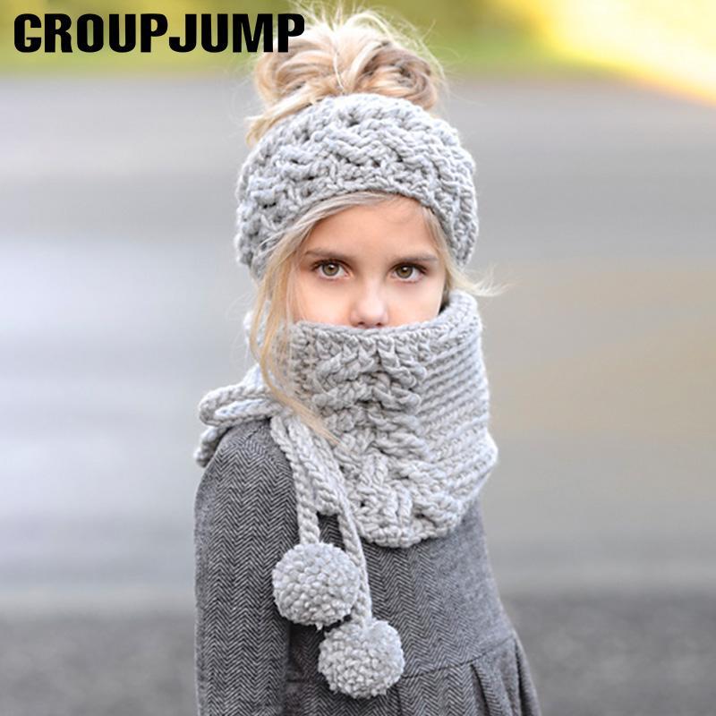 4eea03cb6ca50 Fashion Design Children Winter Hat Scarf Set Boys Girls Knitted ...