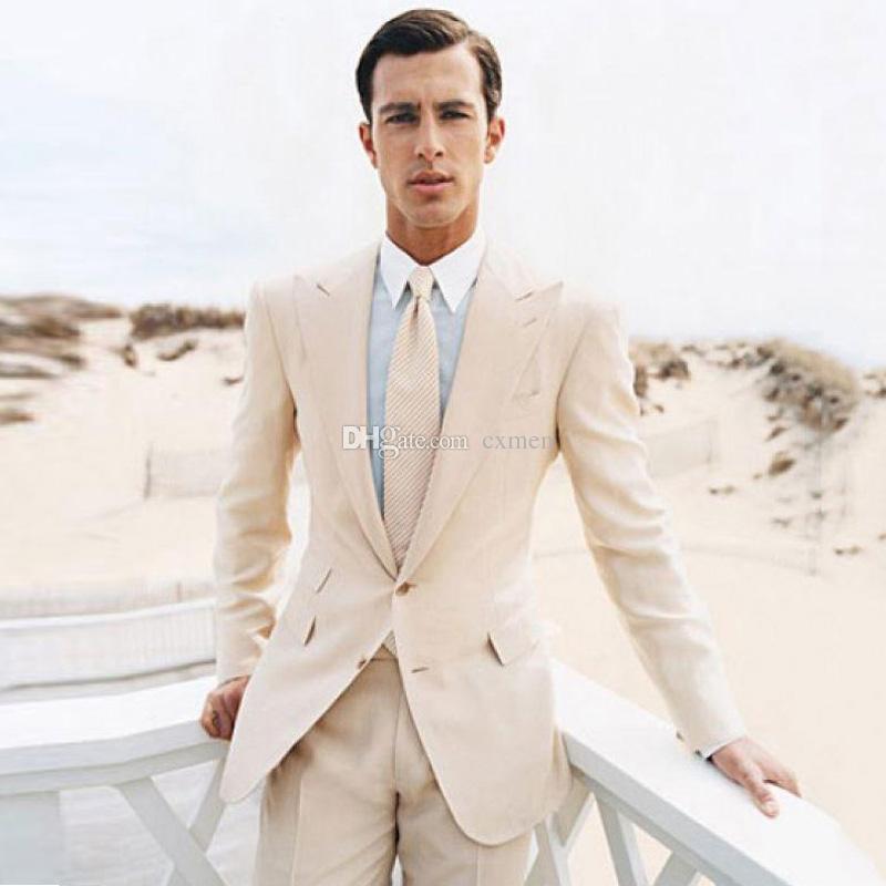 6571de9074c Compre Por Encargo Beige / Caqui Trajes De Hombre Para La Boda Solapa  Enarbolada Elegante Casual Novios Esmoquin Best Man Blazer Slim Fit Traje  De Negocios ...