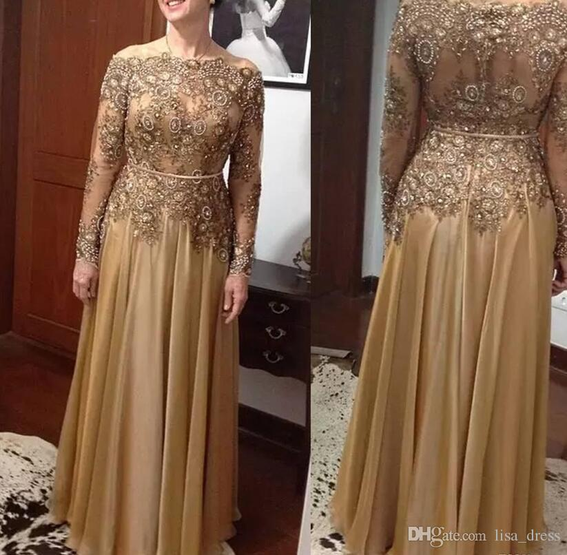 Elegant Gold A Line Lace Bead Mother Of The Bride Dresses Mother Of