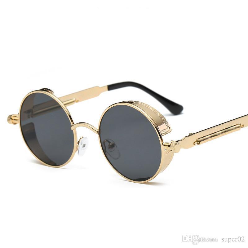 8ef68cd88 Compre Gótico Steampunk Mens Espelhado Óculos De Sol Redondo Círculo Óculos  De Sol Retro Vintage Gafas Oculos De Sol Masculino Feminino De Super02, ...