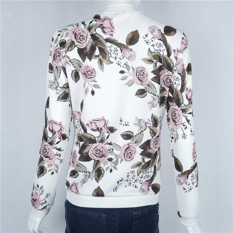 2018 Floral Print Bomber Jacket Women Slim Casual Business Jackets Zip Up Biker Coat Outwear Casaco Feminino Chaqueta Mujer BTS