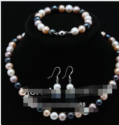 7-8MM black Akoya Cultured Pearl Baroque 18KGP Necklace AAA+ Rare