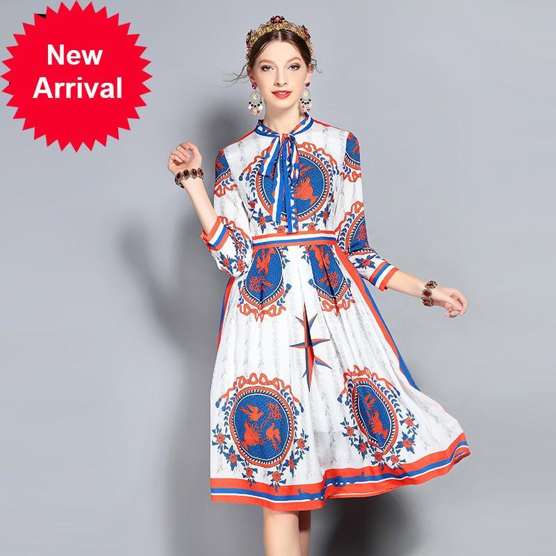 f1cae2916 New 2018 Fashion Designer Runway Dress Women's Long Sleeve Bow ...