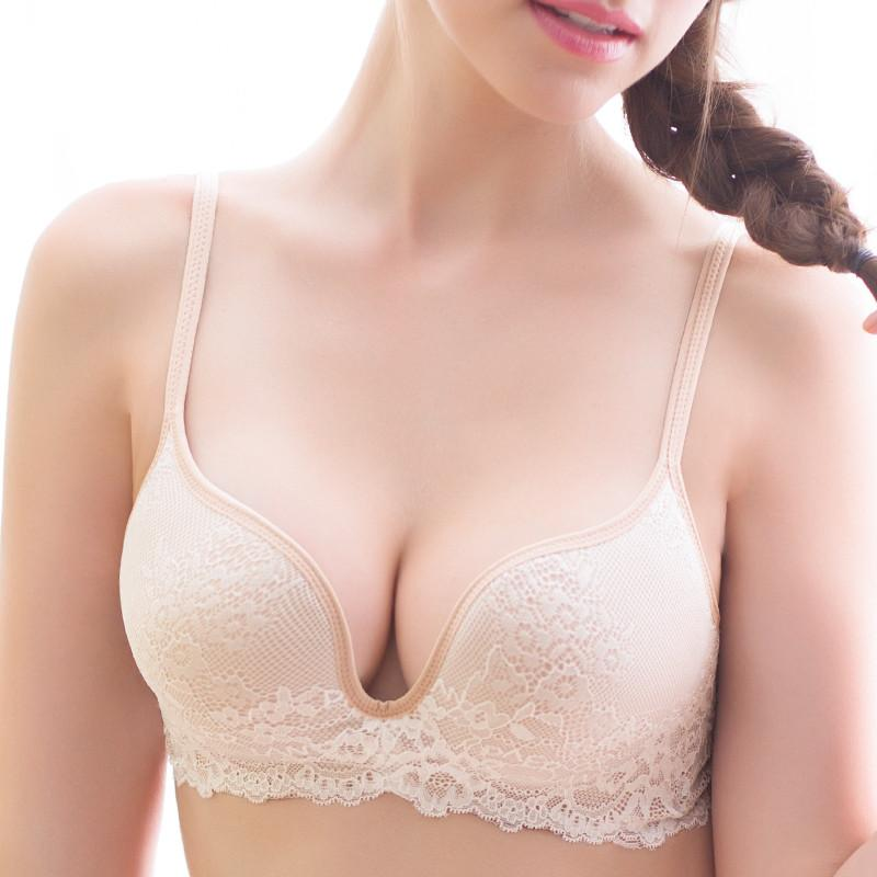 78dde38105cb9 2018 Seamless Wire Free Lace Bra Small Breasts Push Up One Piece Sexy Back  Closure Tow Hook And Eye Underwear Women Cup From Clothingcart