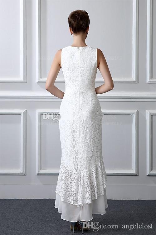 Zarif İki Adet Dantel Anne Gelin Elbiseler Ile 2019 Ceket Jewel Yüksek Düşük Kadınlar Balo Parti Abiye Düğün Konuk törenlerinde Özelleştirilmiş