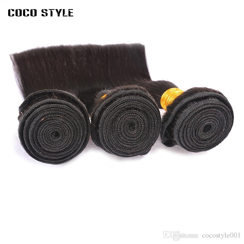 8A Brasileira Tecer Cabelo Liso 3 Pacotes 100% Feixes de Cabelo Humano Natural Cor Preta Mista Comprimento Remy cabelo