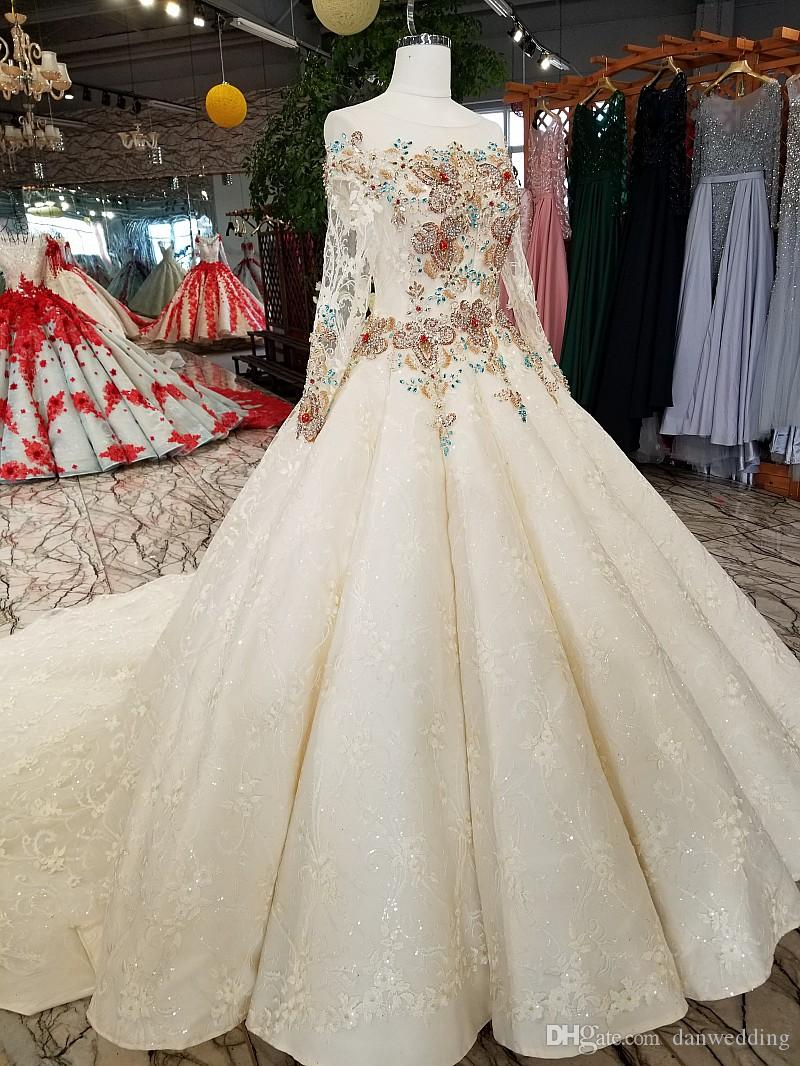 Artistic Ivory Lace Sleeves Applique Hand-Made Beads Ball Gown Wedding Dresses Bridal Dresses Events Dresses Custom Size 6 8 10 12 W307088