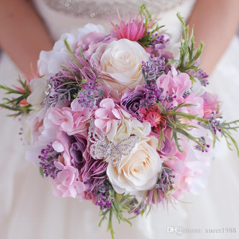 Yeni Güzel Mor Pembe Düğün Buket Tüm El Yapımı Gelin Çiçek Yapay Ortanca Şakayık Gül Kelebek Broş Buketleri