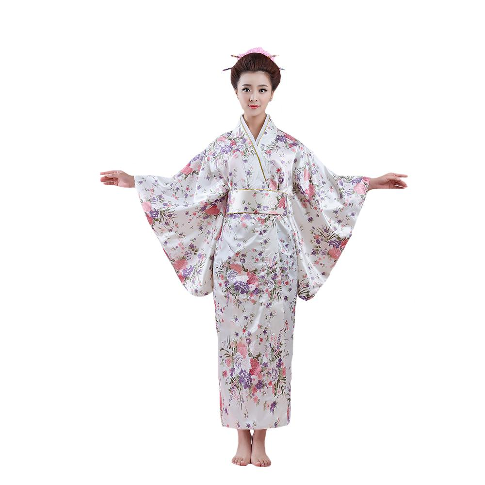 4a7b535f2b7d0 2019 Printed Woman Lady Japanese Tradition Yukata Cosplay Costume Kimono  Bath Robe Gown With Obi Flower Vintage Evening Party Dress From Cactuse