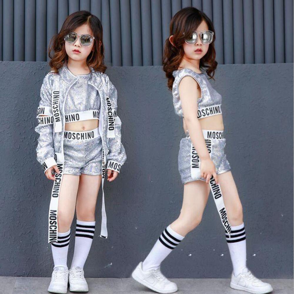 8bfff49b16cdc Compre Kids Lentejuelas Moderno Jazz Hip Hop Dancewear Trajes Set Tops  Pantalones Para Niñas Niños Party Dancing Clothes Outfits A  26.66 Del  Honhui ...