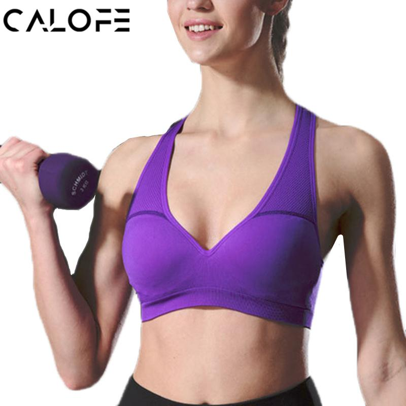 40eec06787 2019 CALOFE Women S Gym Fitness Yoga Top Stretch Seamless Sports Bras Women  Push Up Deep V Neck Workout Running Breathable Sports Bra From Bdsports