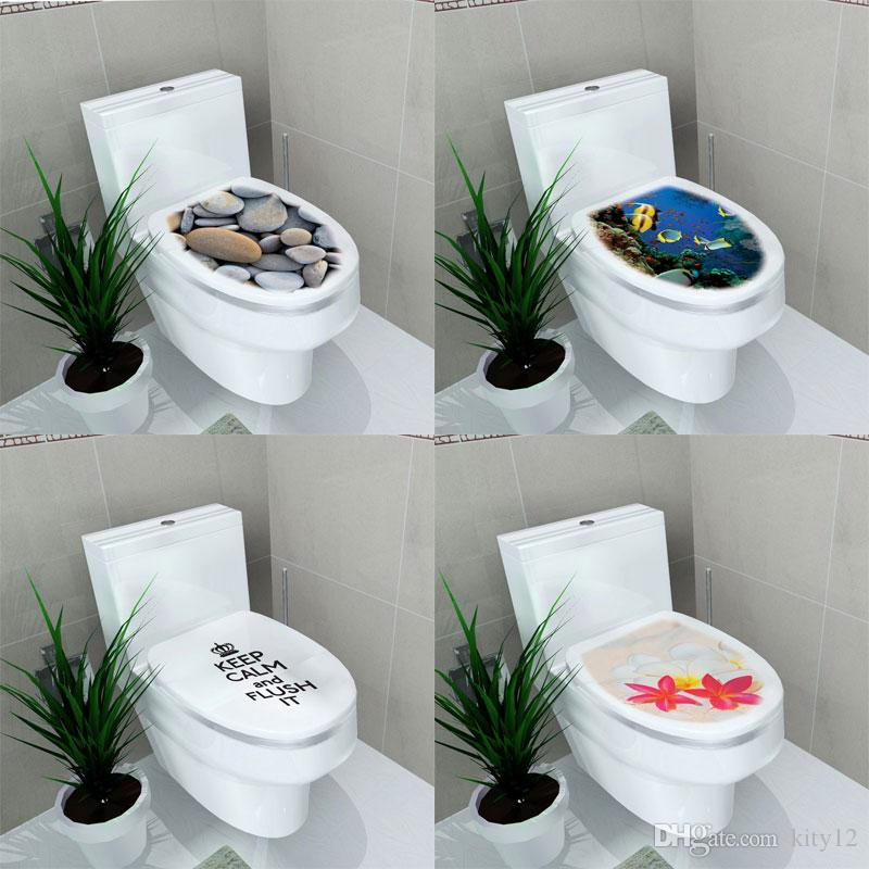 vinyl 3d wall sticker cartoon bathroom toilet living room home decor