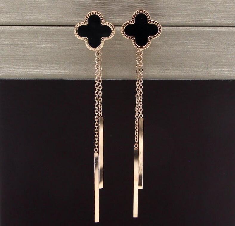 Korean version of the black clover butterfly hanging both sides tassel earrings women fashion titanium steel long earrings