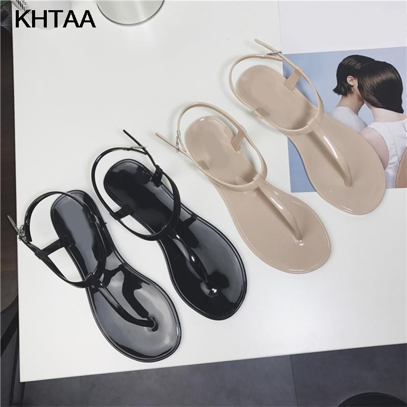 101cd845fed20c KHTAA Women T Strap Flat Ankle Buckle Thong Sandals Female Gladiator Flip  Flops Summer Beach Casual Fashion Vintage Shoes Jelly Prom Shoes Silver  Shoes From ...