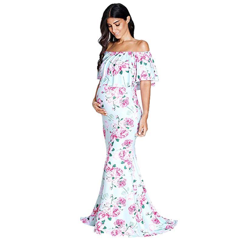 17cb7b4ff Accesorios de fotografía de maternidad Vestido de embarazo Ropa Vestidos de  maternidad largo floral maxi para sesión de fotos Vestido de embarazada de  ...