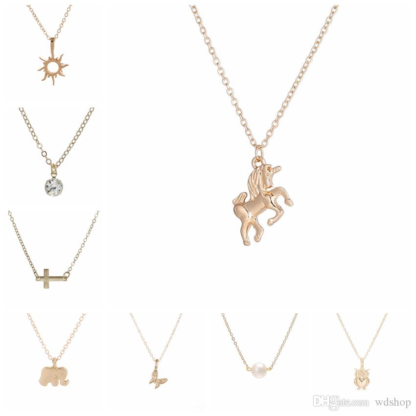 da1d8a1721f Wholesale Cute Gold Color Unicorn Pendant Choker Necklace Lovely Mixed 8  Styles Animal Clavicle Chain Choker Chic Jewelry Gift Gold Necklace For  Women ...