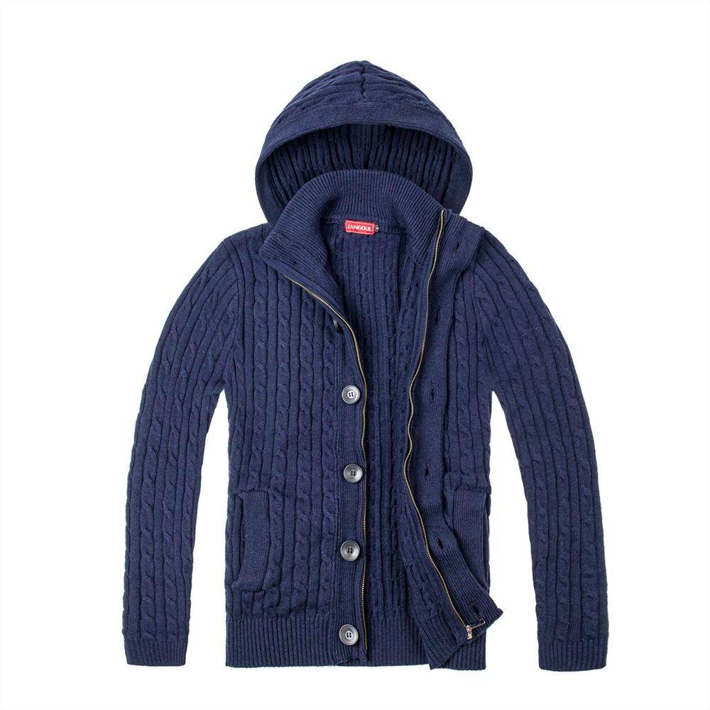 0260036a6 2019 JANGOUL Wool Blend Tweed Sweater Coat Men Button Front Full Zip ...