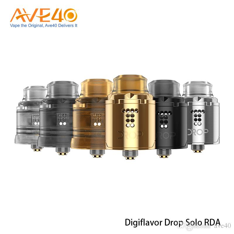 Digiflavor Drop Solo RDA Tank Stepped Airflow Design Single Coil 22mm With Two Different Caps 100% Original