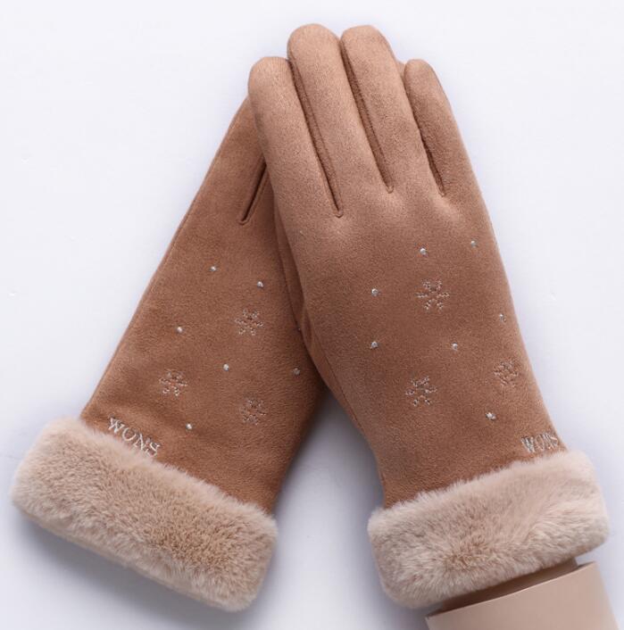 514c1852f Winter Women's Faux Suede Glove Winter Thicken Warm Fleece Lining Touch  Screen Outwear Driving Glove R423