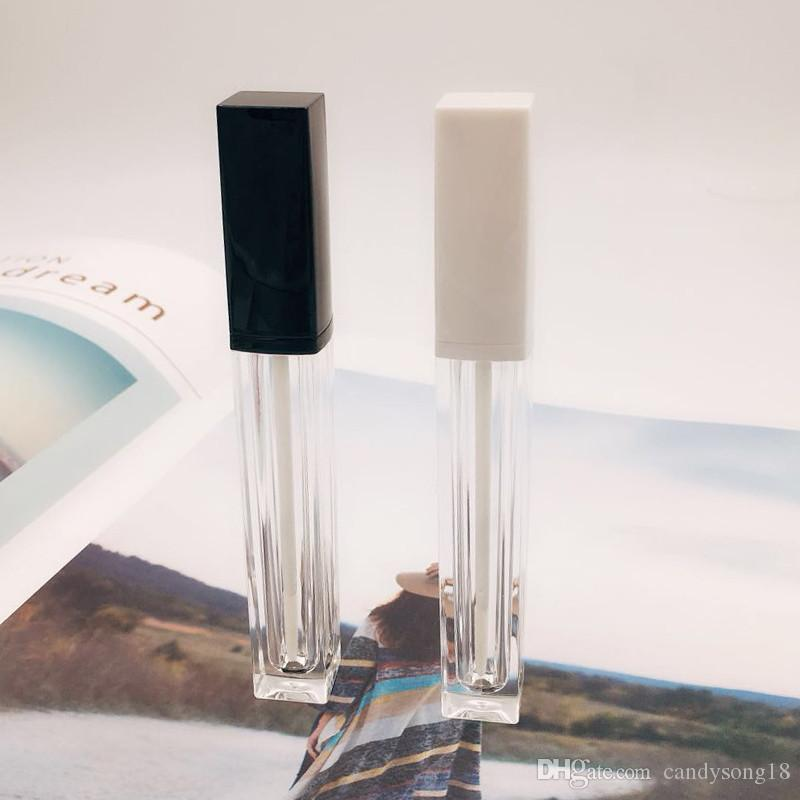 Square Lip Glaze Tube Empty Bottle DIY High Class Nuevo Patrón Brillo de labios Contenedor de embalaje Black White Cap F321