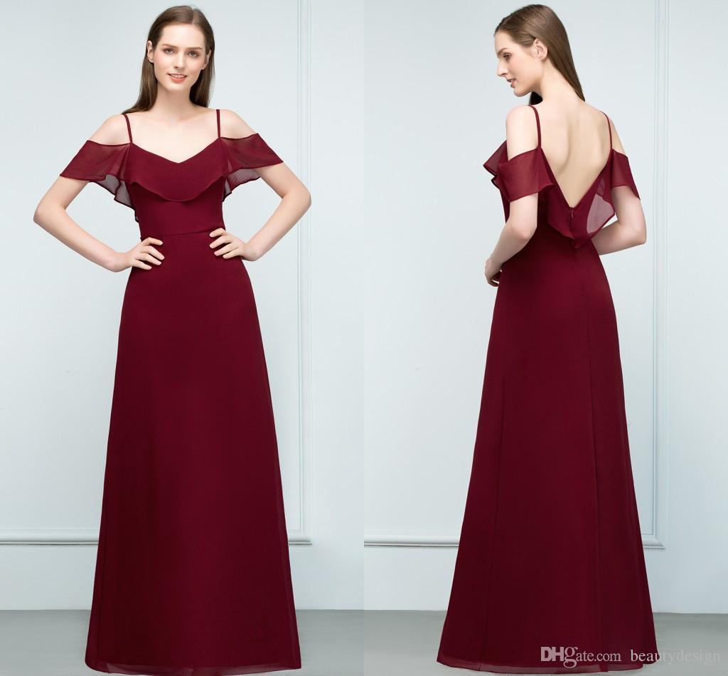 Discount Couture Dresses: New Designer Prom Dresses 2018 Cheap Burgundy Chiffon A